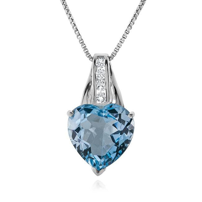 "7.00 Carat Blue Topaz and White Sapphire Heart Pendant with 18"" Chain"