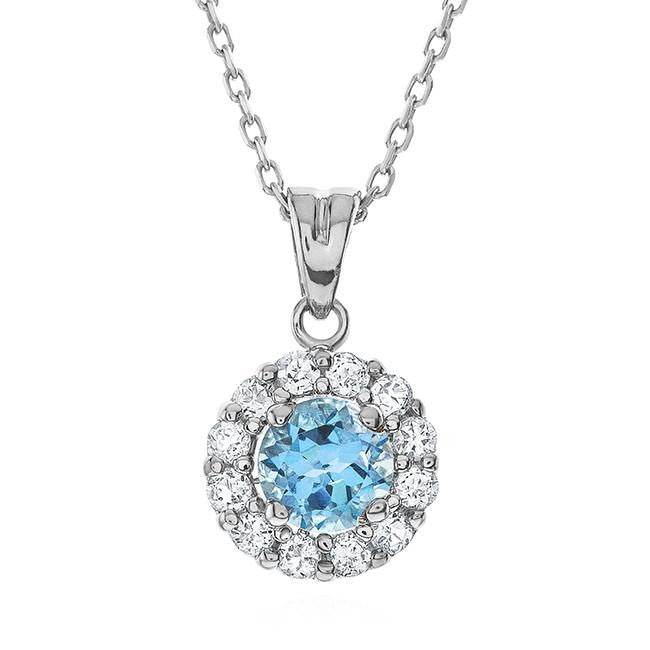 1.00 Carat Blue Topaz & White Sapphire Sterling Silver Pendant with Chain