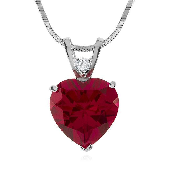 7.50 Carat Ruby and White Sapphire Heart Pendant in Sterling Silver with Adjustable Chain
