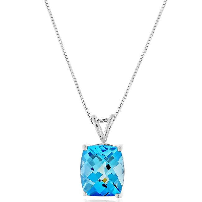 "6.50 Carat Blue Topaz Pendant in Sterling Silver with 18"" Chain"