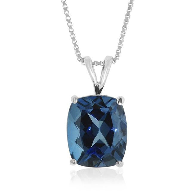 "7.15 Carat Checkerboard Top London Blue Topaz Pendant in Sterling Silver with 18"" Box Chain"