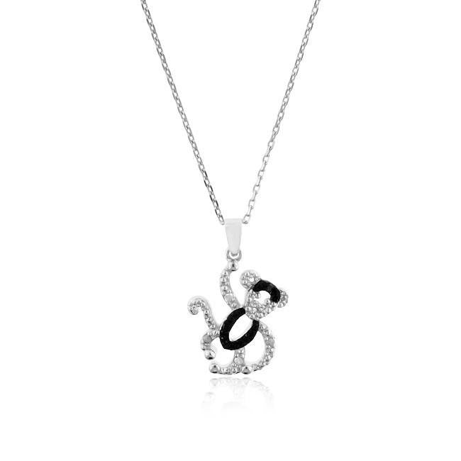 Sterling Silver Black & White Diamond Monkey Pendant with Chain