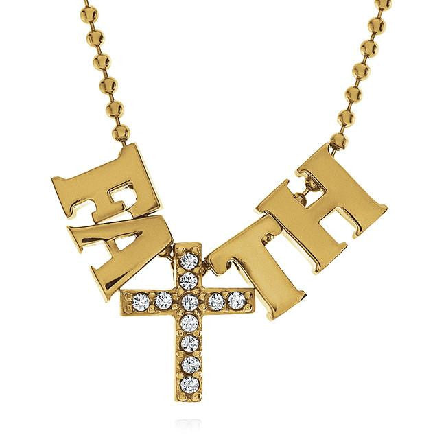 FAITH Necklace in Gold-Plated Sterling Silver - 18""
