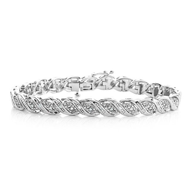 "1 2 Carat Diamond Bracelet in Sterling Silver 7 5"" – Netaya"
