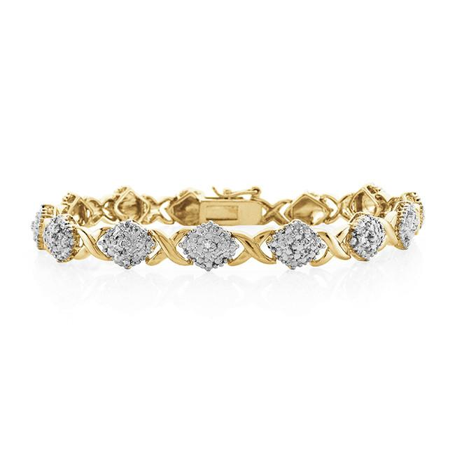 Sterling Silver Gold Plated Hugs and Kisses Diamond Accented Bracelet 7.5""
