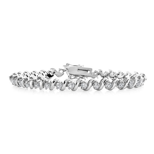 3.00 Carat White Sapphire S-Link Tennis  Bracelet in Sterling Silver - 7.5""