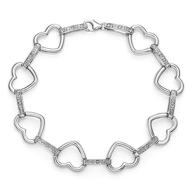 Diamond Accent Heart Link Bracelet in Sterling Silver - 7.5""