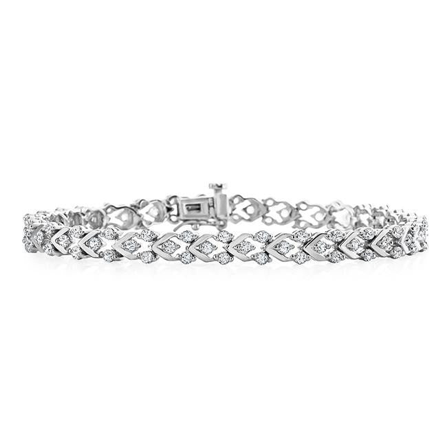 White Sapphire Fancy Bracelet in Sterling Silver - 7.5""