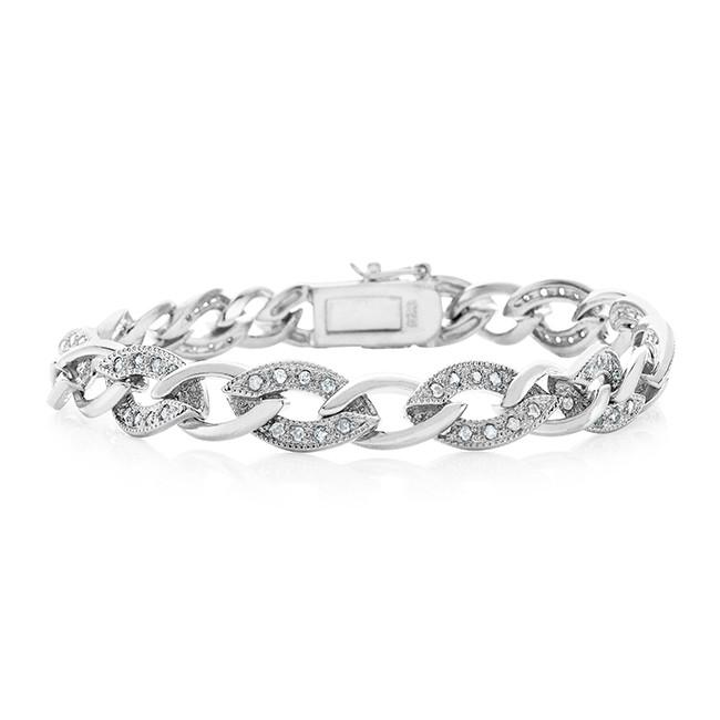 1.00 Carat diamond and Sterling Silver Oval Link bracelet - Size 7.2""