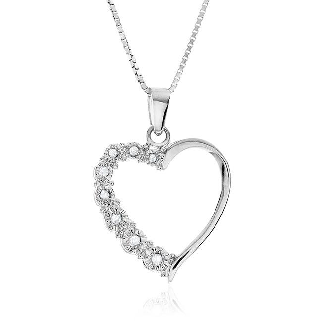Diamond Miracles: Sterling Silver Diamond Miracle Plate Heart Pendant with Chain
