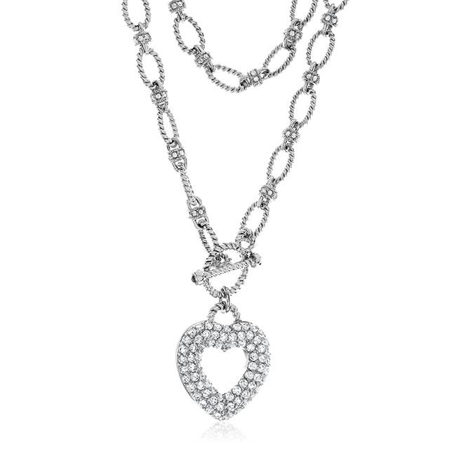 "Sterling Silver Heart Necklace with White Sapphire & 18"" Chain"