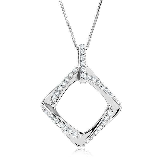 0.75 Carat White Sapphire Square Pendant in Sterling Silver with Chain