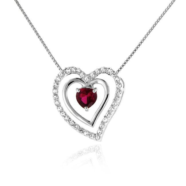 "1.50 Carat tw Ruby & White Sapphire Heart Pendant in Sterling Silver with 18"" Chain"