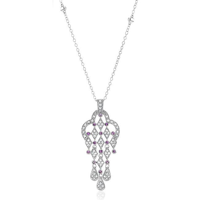 "White & Pink Sapphire Fancy Pendant in Sterling Silver with 18"" Chain"