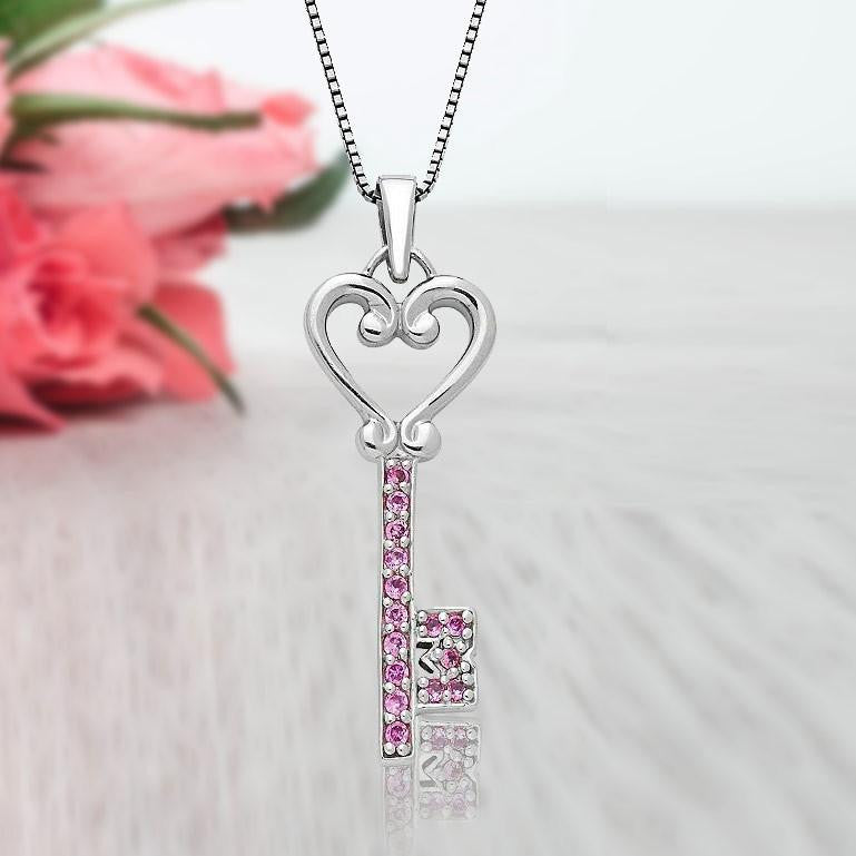"1/4 Carat Pink Sapphire Key Pendant in Sterling Silver with 18"" Chain"