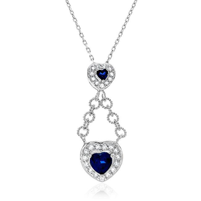 1.25 Carat Blue & White Sapphire Two-Heart Pendant in Sterling Silver - 18""