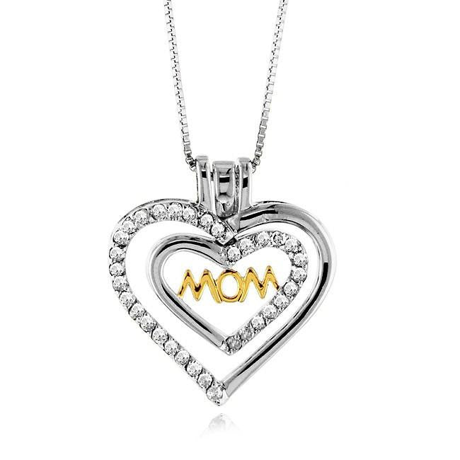 "1/2 Carat Diamond Heart ""Mom"" Pendant in Sterling Silver w/ 18"" Chain"