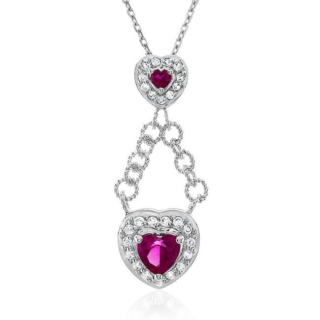 1.75 Carat Ruby Heart Pendant in Sterling Silver with Chain
