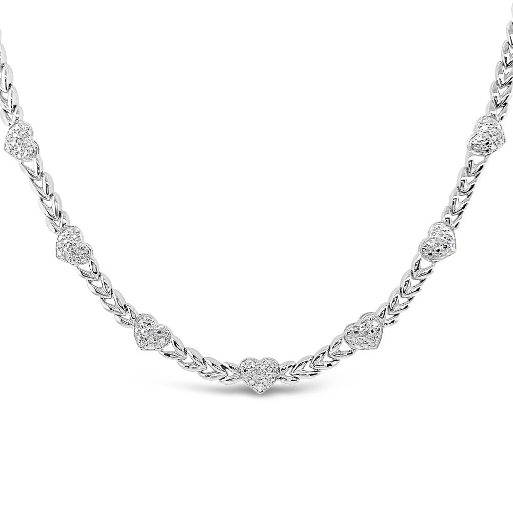 1/4 Carat Diamond Heart Station Necklace in Sterling Silver - 18""