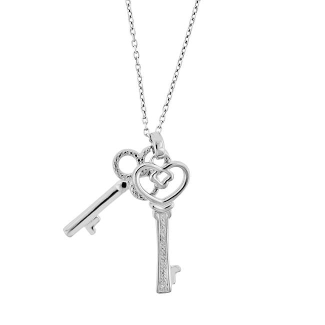 "Sterling Silver Diamond Double Key Pendant with 20"" Chain"