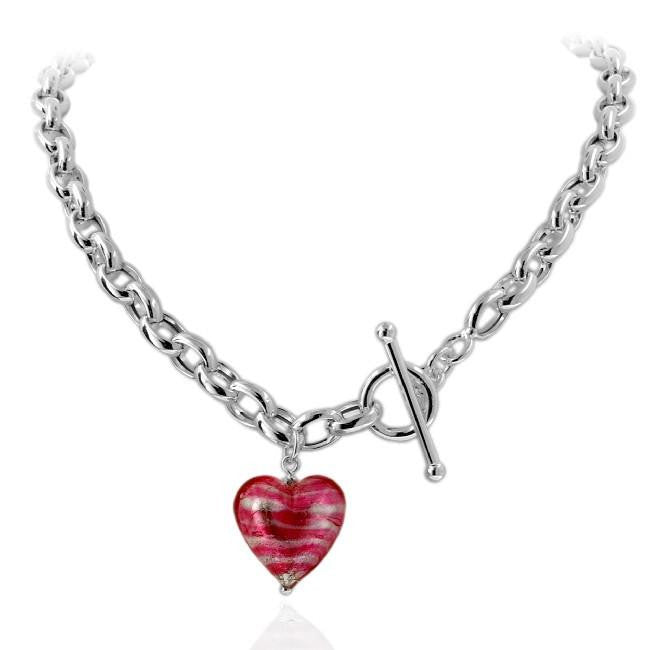necklace sister heart toggle pave