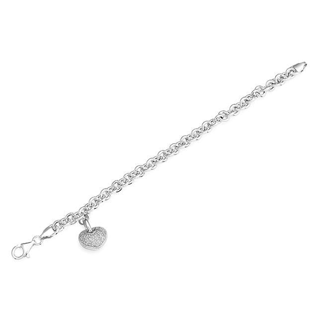 Sterling Silver Diamond Heart Rolo Link Bracelet - 7""