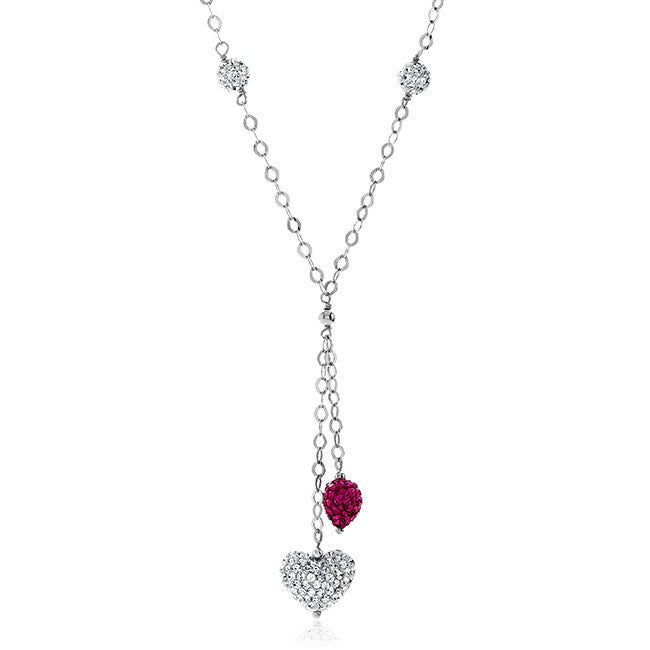 Pink & White Crystal Heart Necklace in Sterling Silver - 18""