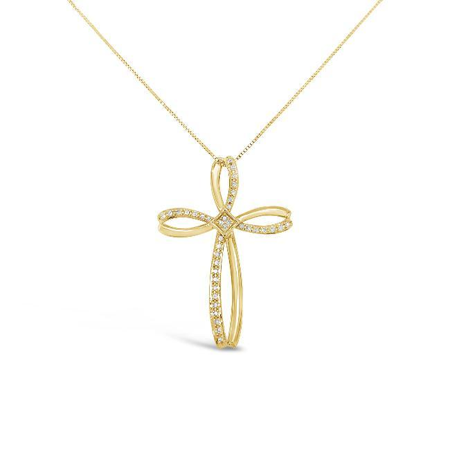 1/8 Carat Diamond Cross Pendant in Yellow Gold-Plated Sterling Silver - 18""