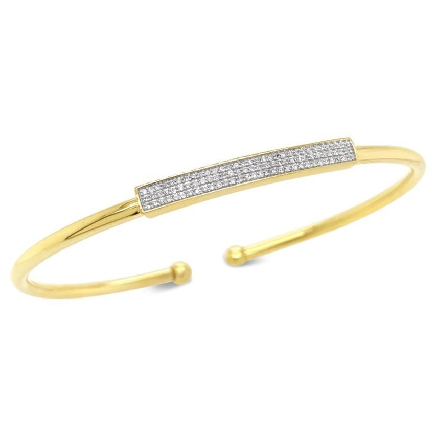 1/5 Carat Diamond Bangle in Yellow Gold/Sterling Silver