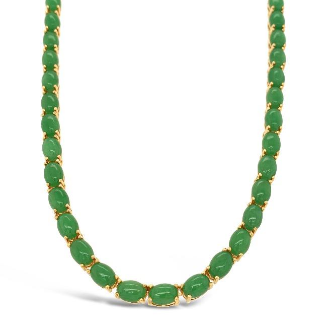 46.84 Carat Green Jade Necklace in Yellow Gold-Plated Sterling Silver - 16""