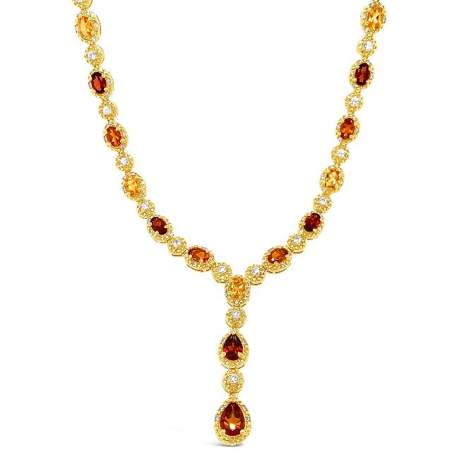 9.25 Carat Genuine Multi-Gemstone Y Necklace in 18K Yellow Gold/Sterling Silver