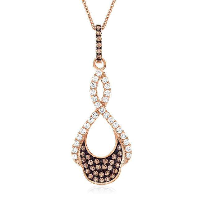 Rose Gold Over Sterling Silver Champagne & White Swarovski Zirconia Infinity Designed Pendant - 16""