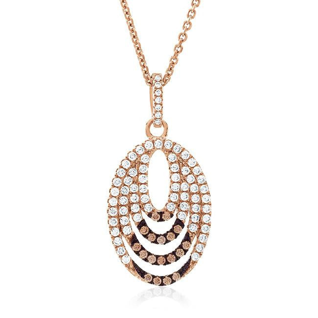 Rose Gold Over Sterling Silver Champagne & White Swarovski Zirconia Multiple Oval Pendant - 16""