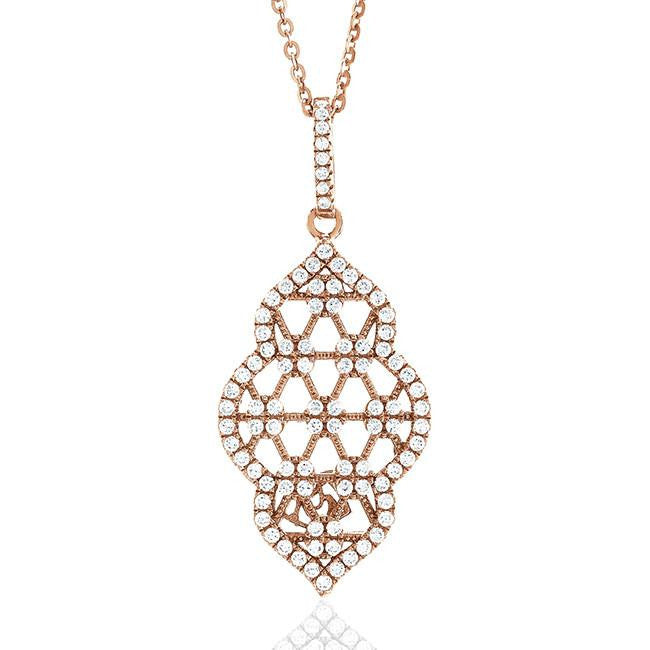 "Rose Gold Over Silver Swarovski Zirconia Pavé Pendant With 16"" Chain"
