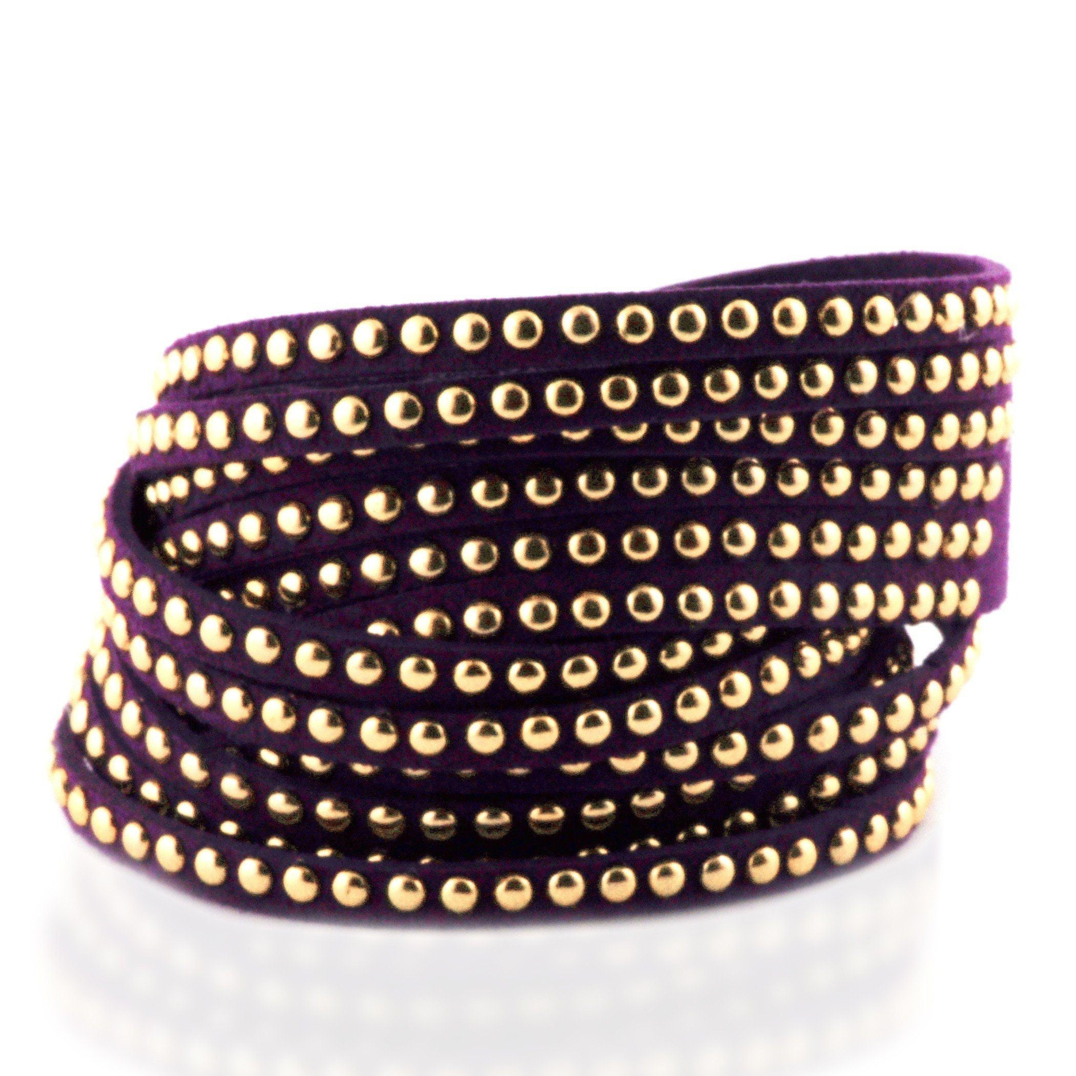 Purple Soft Leather Wrap Bracelet with Stainless Steel Beading - 7""
