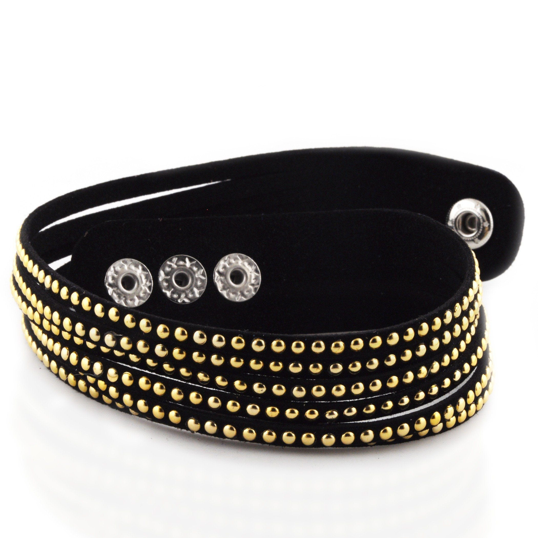 Black Soft Leather Wrap Bracelet with Stainless Steel Beading - 7""