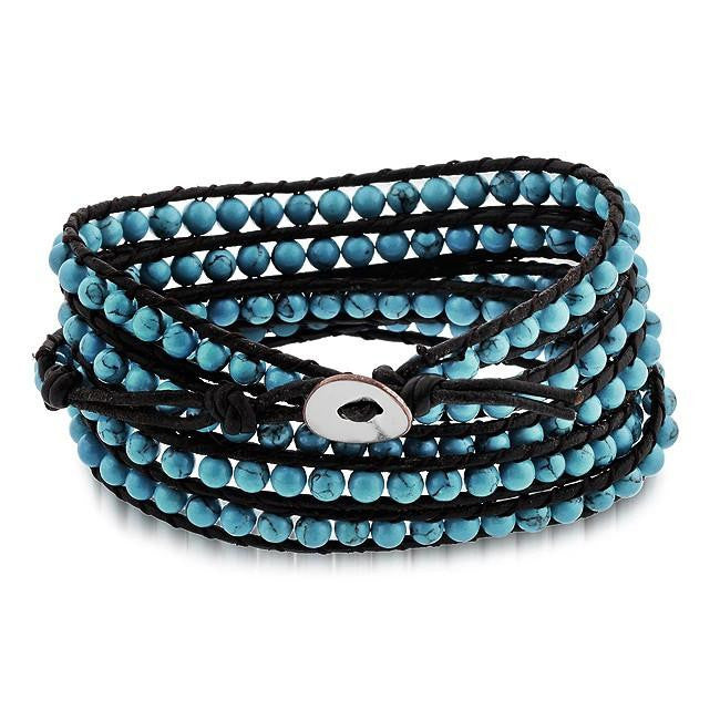 Turquoise Bead Leather Bracelet with an Adjustable Stainless Steel Button Closure - 7""