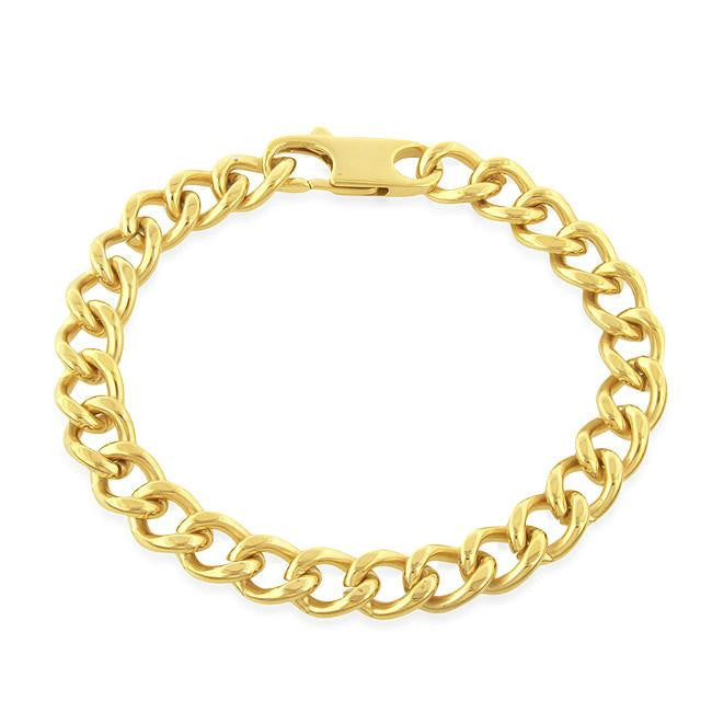 Stainless Steel 18K Yellow Gold Overlay Figaro Link Men's Bracelet