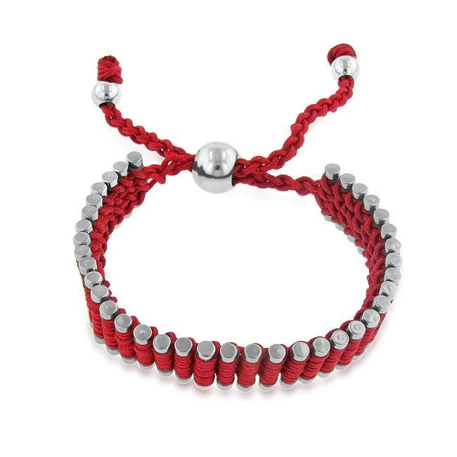 Stainless Steel & Red Cord Adjustable Friendship Bracelet - 7""