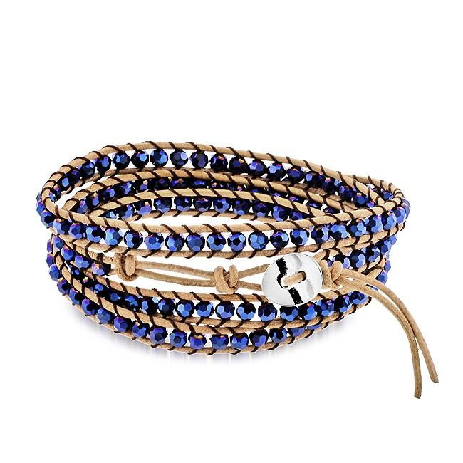 Blue Round Crystal Leather Bracelet with an Adjustable Stainless Steel Button Closure - 7""