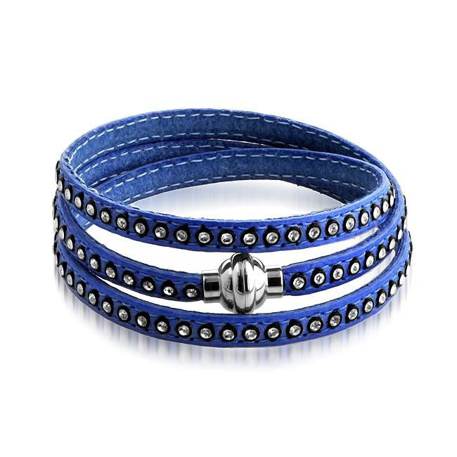 Crystal Studded Blue Leather Wrap Bracelet - 7.5""
