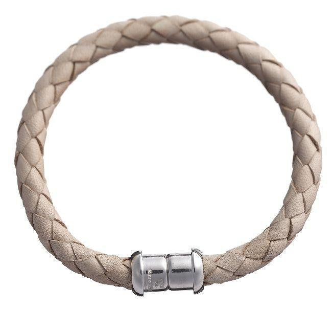 Desphaera Collection. Italian Magnetic Beige Leather Bracelet