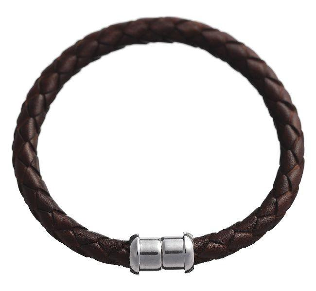 Desphaera Collection. Italian Magnetic Brown Leather Bracelet