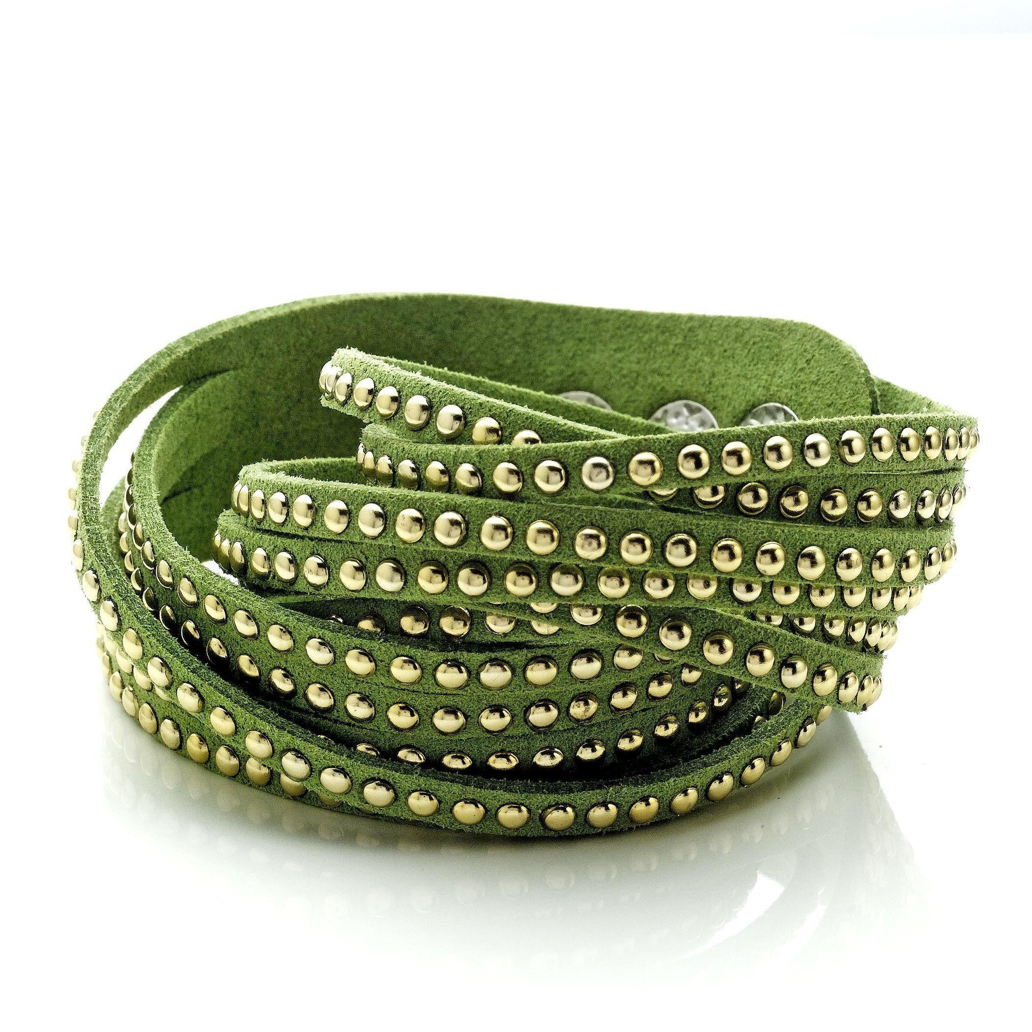 Green Soft Leather Wrap Bracelet with Stainless Steel Beading - 7""