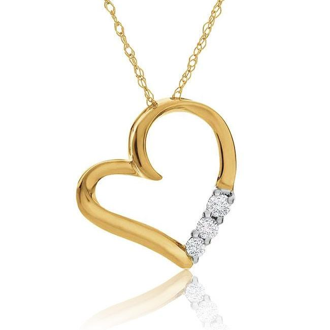 "10K Yellow Gold 3-Stone Diamond Pendant with 18"" Chain"
