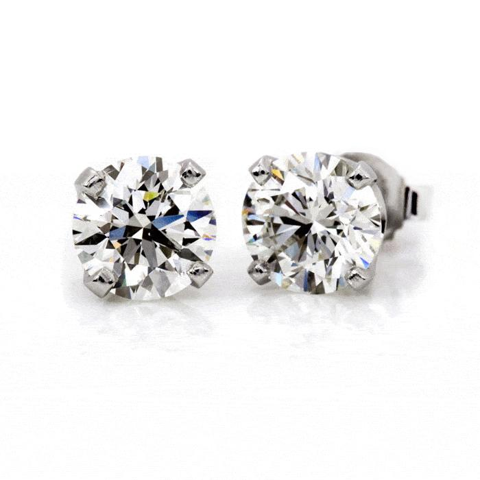 Near 3/4 Carat (0.65ctw) Diamond Stud Earrings in 14K White Gold (G-H;I1-I2)