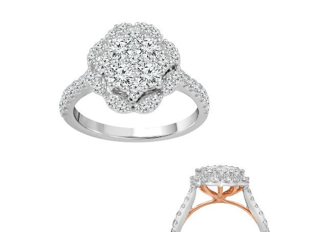 1.25 Carat Diamond Flower Engagement Ring in Two-Tone 14K Gold (H-I,I1-I2)