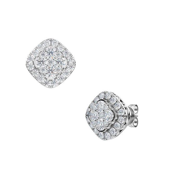 1.00 Carat Lab-Grown Diamond Halo Earrings in 14K White Gold (G-H/SI2)