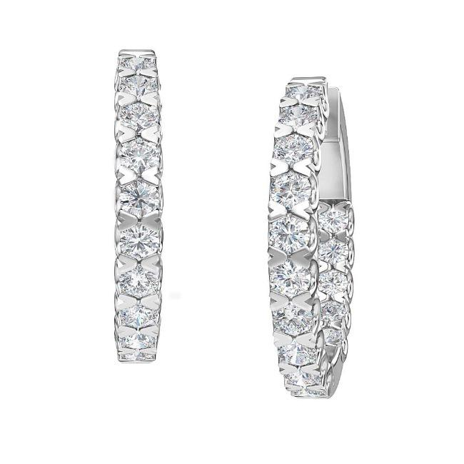 2.50 Carat Lab-Grown Inside-Out Diamond Hoop Earrings in 14K White Gold (G-H/SI2)