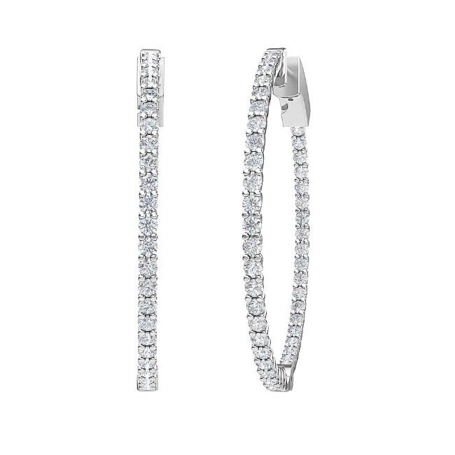 2.00 Carat Lab-Grown Inside-Out Diamond Hoop Earrings in 14K White Gold (G-H/SI2)
